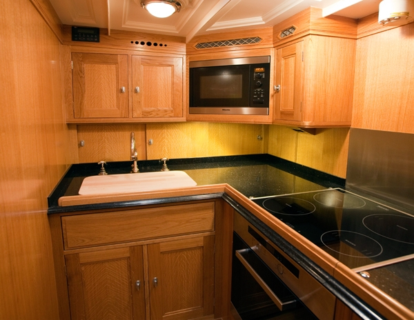 Classic yacht Alinda V's Galley Photo Credit GRAMA BLEND UK