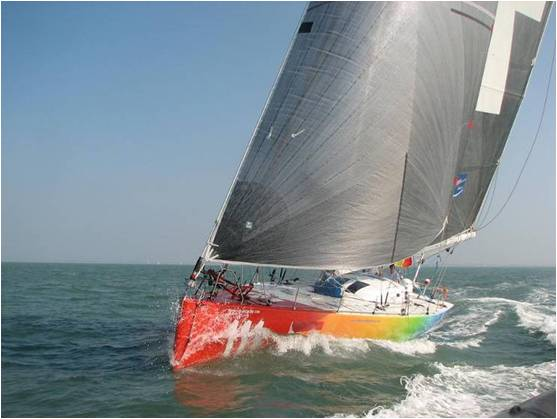 Sailing yacht Five Oceans of Smiles - Christophe Bullens is the first participant to complete the qualifier for de VELUX5 OCEANS. Photo Credit Morris Adant