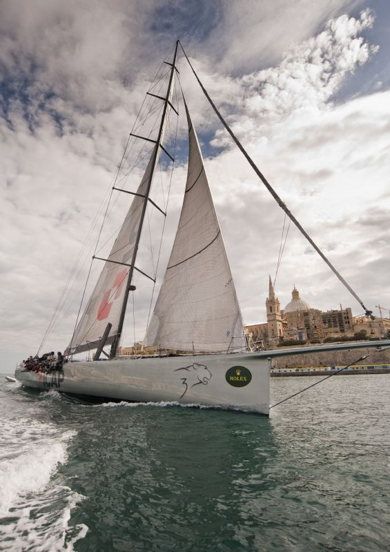 Sailing yacht ICAP LEOPARD, taking line honours 2009 Rolex Middle Sea Race - Photo Credit Rolex  Alan Carville