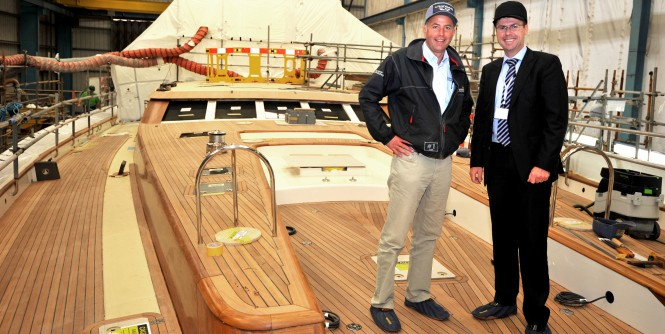 Toby Allies - Sales and Marketing Director and Sam Lewis - Commissioner on the deck of SY Christopher - Image courtesy of Pendennis