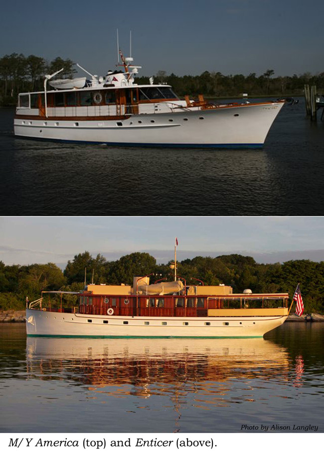 Trumpys Enticer (above) and Motor yacht America (top). Photo Credit Seakeeper and Alison Langley