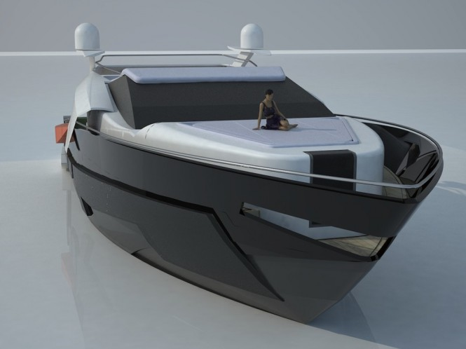 Bow view of the 29.07m Carlo Cafiero Super Yacht Design