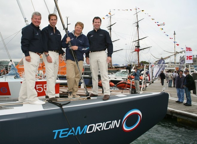Sir Keith Mills (Patron), Ben Ainslie (skipper), Charles Dunstone (co-backer) Mike Sanderson (ex CEO) on TEAM ORIGIN at the launch in September 2007. Credit onEdition