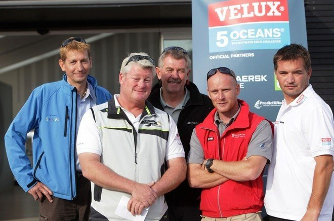Skippers Christophe Bullens, Brad Van Liew, Derek Hatfield, Chris Stanmore-Major and Zbigniew Gutkowski at official opening of the Race Village - Credit Velux 5 Oceans