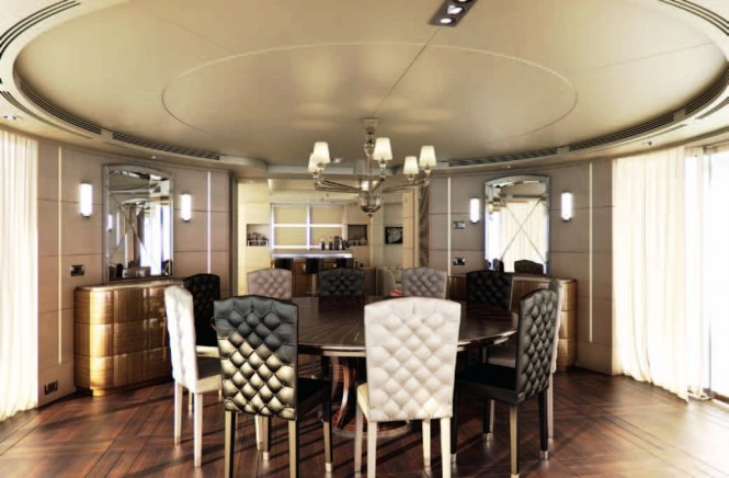 Benetti Vision 145 Told U So - Indoor- Outdoor dining area with retractable glass walls