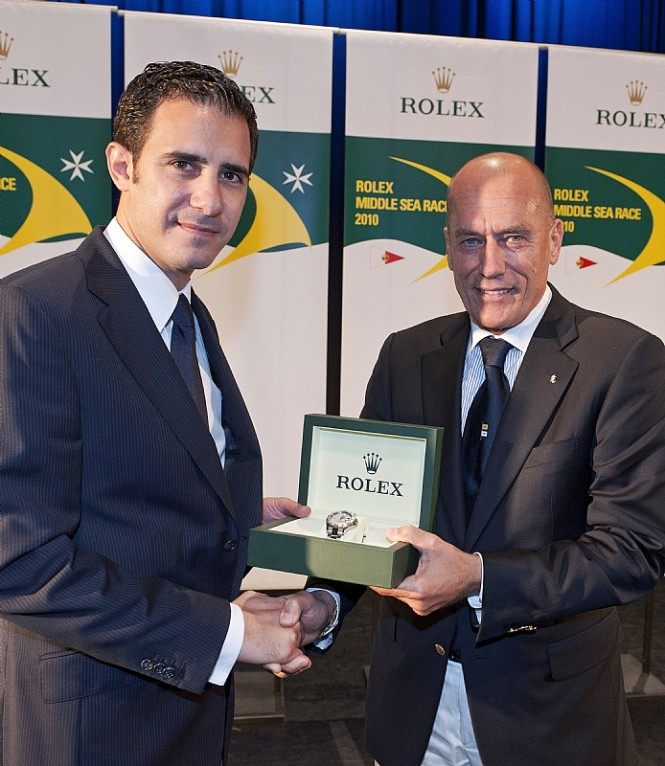 Mr Malcolm Lowell Jr. from Edwards Lowel and Igor Simcic, ESIMIT EUROPA 2, line honours  - Photo credit Rolex  Kurt Arrigo