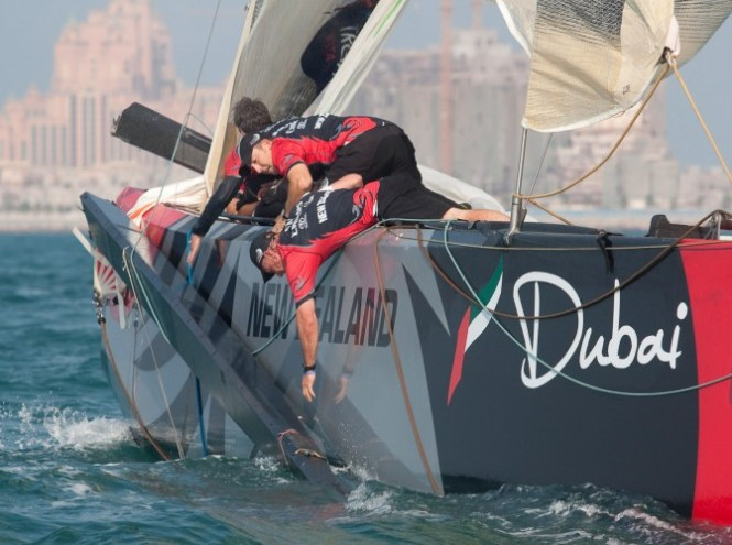 Race Day 1 Emirates Team New Zealand collides with Mascalzone Latino Audi Team. The Kiwi pole impaled through the Italian hull before breaking off. © Bob Grieserousideimages.comLouis Vuitton Trophy