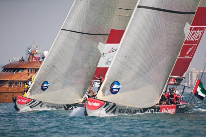 Race day 2 Emirates Team New Zealand vs ALL4ONE start © Bob Grieserousideimages.comLouis Vuitton Trophy.