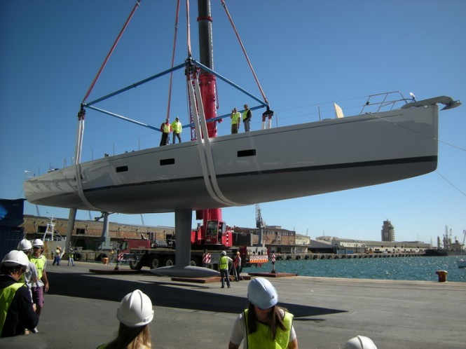 Southern Wind Sailing Yacht Kiboko, SW 94 - October 31 2010, being launched - Credit Southern Wind