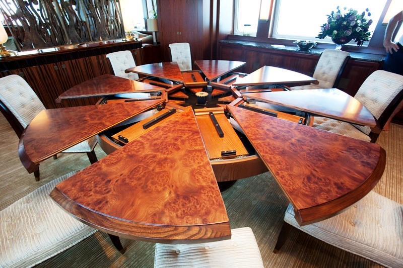 Expanding dining table photo credit superyachtmedia luxury yacht