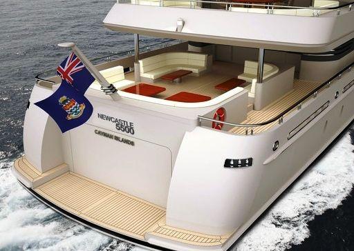 "54.87M (180′) Newcastle 5500 raised ""veranda"" on the main aft deck"