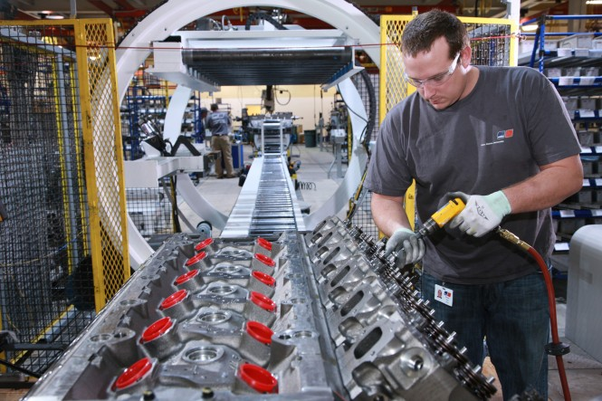 Assembly of the MTU brand large diesel engines in the new US engine production facility set up by the specialist for propulsion and power solutions Tognum in Aiken County in the US State of South Carolina