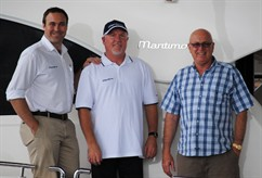Bigfoot Marine principal Laurence Steytler with Maritimo's Luke Durman and CEO Bill Barry-Cotter