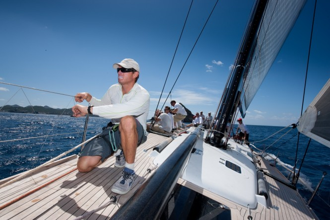Bowman Ben Beer counts down to the start for Jim Swartz's Swan 601Moneypenny at the 2010 Les Voiles de St. Barth. © Christophe Jouany