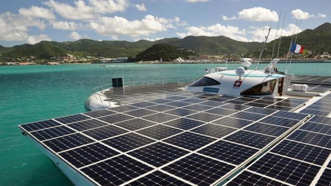 MS Tûranor PlanetSolar anchored in the Bay of Marigot - Photo credit Planet Solar