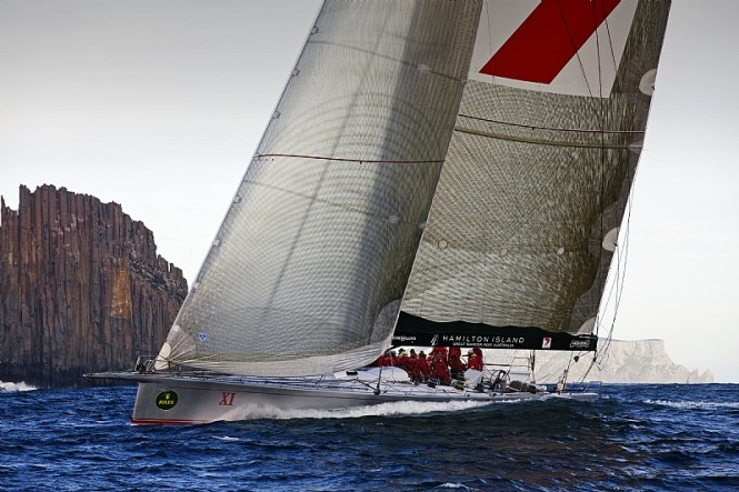 Provisional Line Honours Winner WILD OATS XI at the Organ Pipes, off Cape Raoul Photo credit Rolex  Daniel Forster
