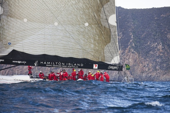 Provisional Line Honours Winner WILD OATS XI crossing Storm Bay - Photo credit Rolex  Daniel Forster