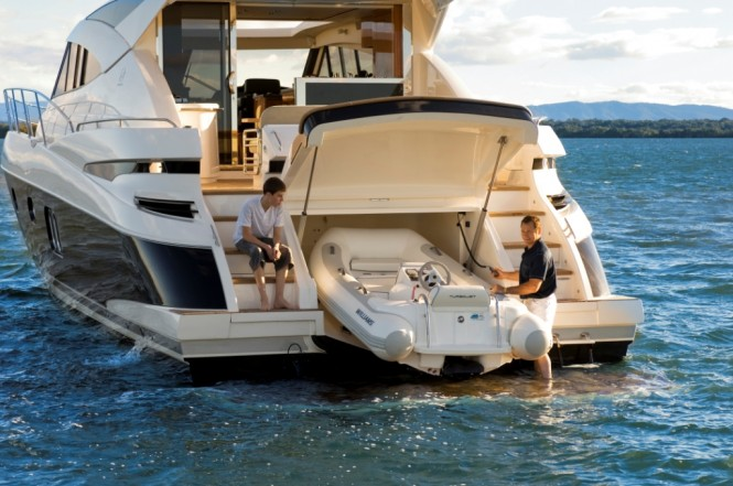 Riviera 5800sy luxury yacht charter superyacht news for Boat garages