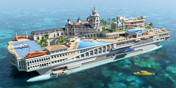 155m SWATH 'The Streets of Monaco' superyacht by Yacht Island Design Exterior render and zoning diagram