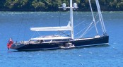 Superyacht KOKOMO III in Waikawa New Zealand - notice the world first submarine anchoring system
