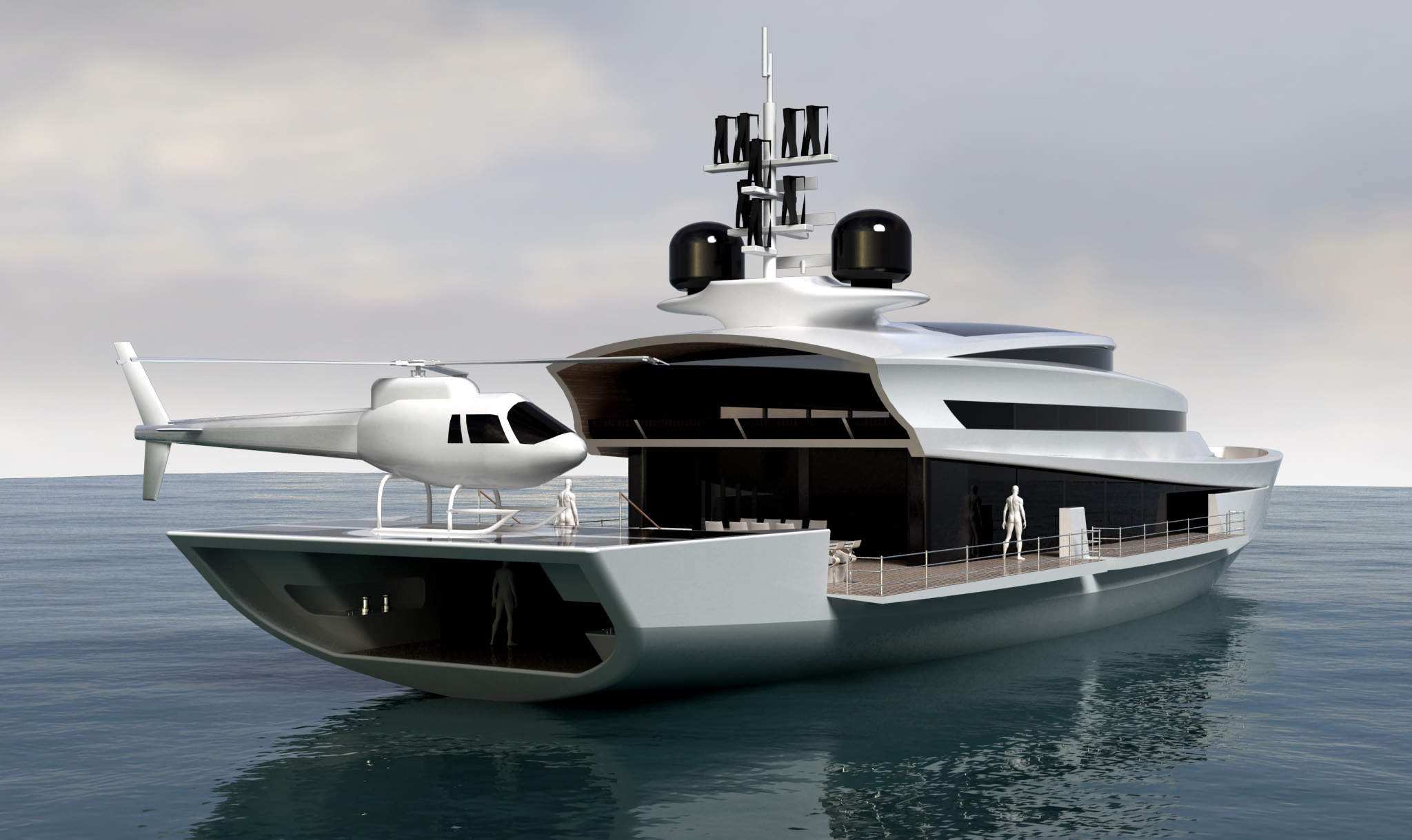 Paradigm 180 motor yacht design helipad yacht charter for Yacht dekoration