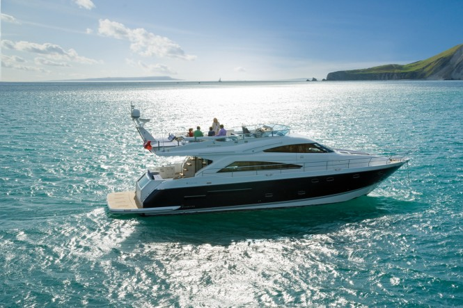The superb Squadron 65 flybridge motor yacht offers three cabins plus crew, ...