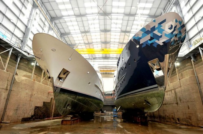 Motor Yacht Audacia and Superyacht Dardanella in dock at Pendennis