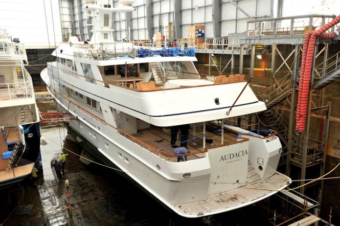 Motor Yacht Audacia arrives at Pendennis for 2m stern extension