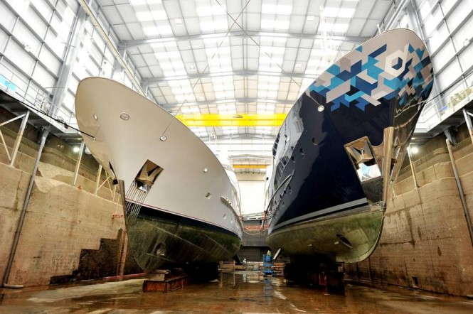 Motor yacht Audacia and Dardanella at Pendennis Shipyard for refit