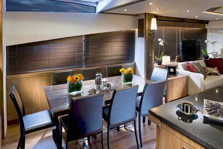 Sunseeker Manhattan 73 motor yacht interior by Design Unlimited - Dining