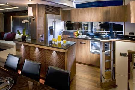 Sunseeker manhattan 73 motor yacht interior by design unlimited galley yacht charter Ship galley kitchen design