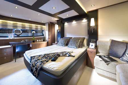 Sunseeker Manhattan 73 motor yacht interior by Design Unlimited - Owners Cabin