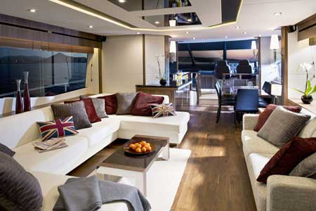 Sunseeker Manhattan 73 motor yacht interior by Design Unlimited - Salon
