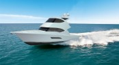 The new 53 flybridge motor yacht retains the distinctive Riviera styling