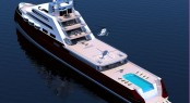 110m Explorer Motor Yacht Concept by J Kinder Yacht Design- Arial View