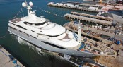 60m CRN 130 motor yacht Darlings Danama at her launch - Superyacht Darlings Danama will exhibit at the Monaco Yacht Show 2011