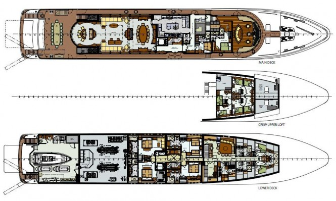 Lower and Main Deck General Arrangement of Motor yacht Areti - Trinity Yachts