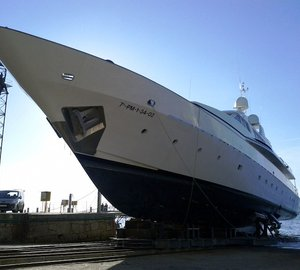 Motor yacht Tumberry C under refit at Atollvic Shipyard