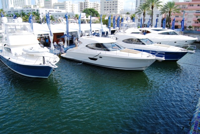 Riviera had an impressive floating display at the Miami Yacht and Brokerage Show