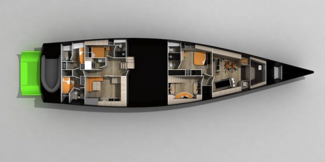 Sailing Yacht OAI 115 layout - design by Carlo Cafiero