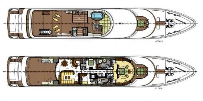 Upper deck Layout of Trinity Yacht Areti