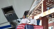 William (Billy) Smith, III, Trinity Yachts, Captain Ted Kavalieros, Owner's Representative at the lauch of Yacht Areti - Credit Trinity Yachts