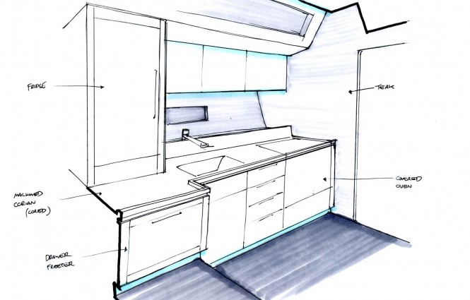 Yacht SANS Galley rendering
