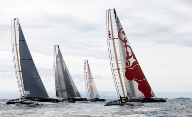 FOUR AC45s SAIL ON HAURAKI GULF