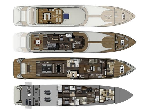 58.00m (190'3) SuperYacht Egeria layout
