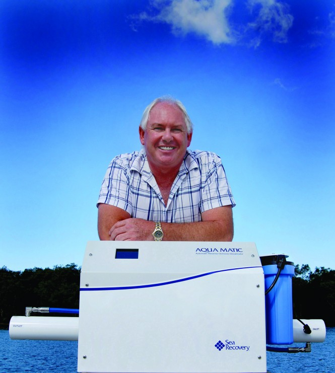 Australian Wholesale Marine managing director Errol Cain with the new Sea Recovery Aqua Matic desalinator