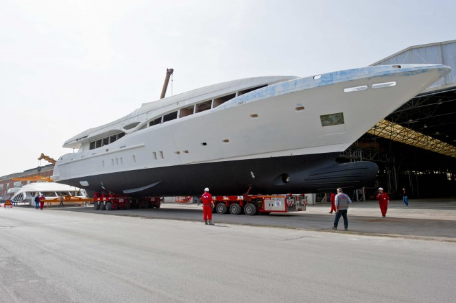 First hull of Mangusta 148' Oceano Motor yacht by Overmarine