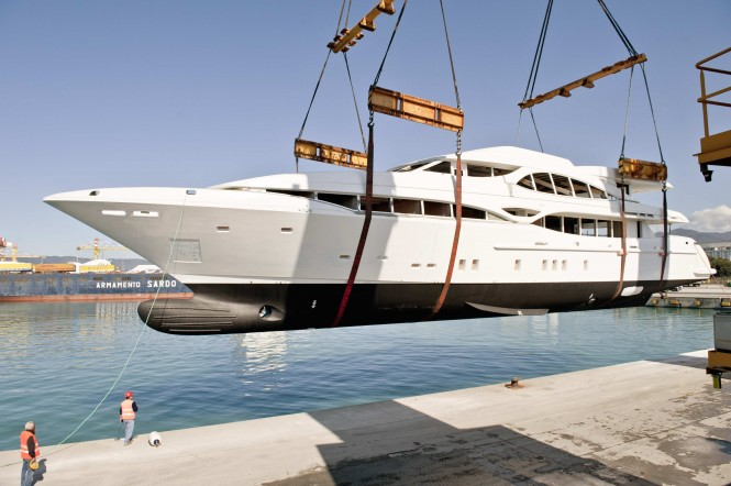 First hull of Mangusta 148' Oceano Motor yacht by Overmarine arrives in Viareggio