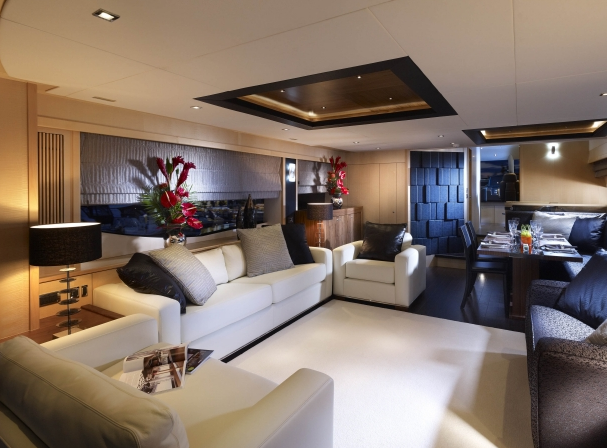 High Energy Yacht Dining And Lounge Area Yacht Charter