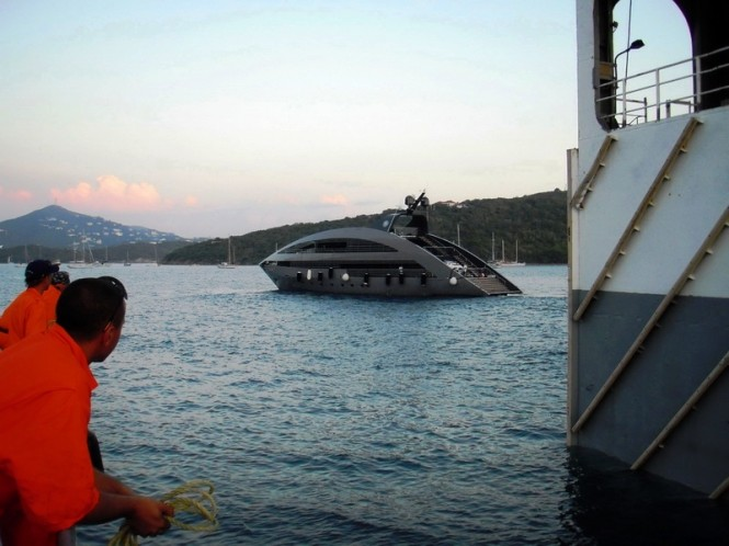 Superyacht Ocean Emerald on standby to load on to Dockwise Yacht Transport ...